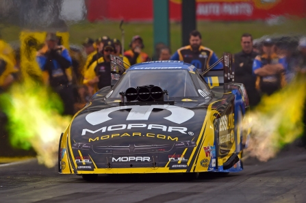 2016 - Mopar-sponsored Dodge Charger R/T National Hot Rod Association (NHRA) drag racers, such as Matt Hagan (above), dominate the NHRA Funny Car class, capturing four championships in the last six years. The Mopar and Dodge brands capture the 2016 NHRA Manufacturers Cup.