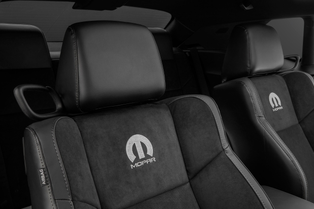 Heading inside, performance seats customized with Tungsten Mopar logos embroidered on the seatbacks dress up the Mopar '17 Dodge Challenger.