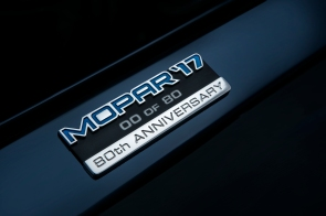 A special serialized Mopar '17 80th Anniversary badge is included under the hood, announcing 1-80 of the Contusion Blue version and 1-80 of the Billet Silver option.