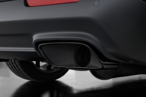 Standard chrome exhaust tips are replaced with Dodge Challenger SRT Hellcat black exhaust tips.
